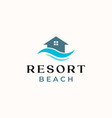 palm resort logo template isolated in white vector image vector image