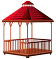 pavillion with red roof vector image vector image
