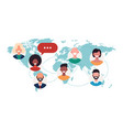 people on world map chat bubbles global vector image