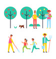 people taking care about trees in garden icon vector image