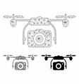 photo drone mesh 2d model and triangle vector image vector image