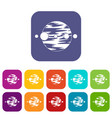 planet and moons icons set flat vector image vector image