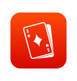 playing card icon digital red vector image vector image