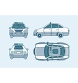 police car top front side back view line style vector image vector image