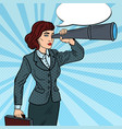 pop art business woman looking in spyglass vector image vector image