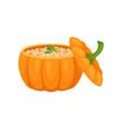 porridge within the pot of a ripe pumpkin vector image vector image