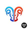 ram head logo creative serious ram twins symbol vector image vector image