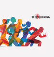 running people set silhouettes sport and vector image
