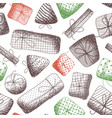 seamless pattern of various sketch gifts vector image vector image