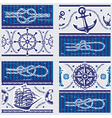 seamless patterns with nautical symbols vector image vector image