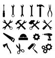 set black flat icons - tools technology work vector image vector image