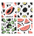set of hand drawn seamless pattern with tropical vector image vector image