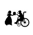 silhouettes boy in wheelchair girl gives him vector image vector image