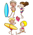 Sketches of the kids enjoying at the beach vector image vector image