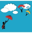 Superhero flying in the clouds vector image vector image