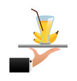 tray hand banana juice cup with straw vector image