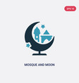 two color mosque and moon icon from other concept vector image vector image