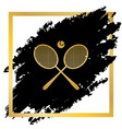 two tennis racket with ball sign golden vector image vector image