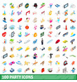 100 party icons set isometric 3d style vector image vector image
