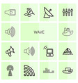 14 wave icons vector image vector image