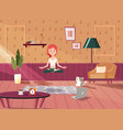 a girl doing yoga at home vector image vector image