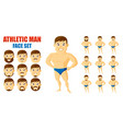 athletic man face set cartoon character vector image