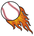 baseball ball in fire vector image vector image