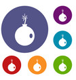 cannonball icons set vector image vector image