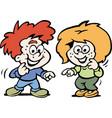cartoon a tow happy children vector image