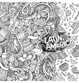 Cartoon hand-drawn doodles Latin American frame vector image vector image