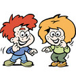 Cartoon of a tow happy children