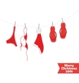 Christmas card Beach accessories swimsuit vector image