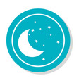 circular frame with silhouette moon and stars icon vector image