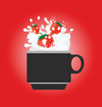 coffee cup with strewberry red vector image