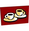 coffee for two two coffee cups on table vector image