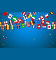 colorful flags garland of different countries of vector image vector image