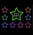 colorful neon star frame set on black background vector image vector image