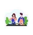 couple cooking helping each other vector image vector image