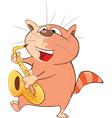 Cute Cat Saxophonist Cartoon vector image vector image