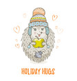 cute christmas animal forest hedgehog merry xmas vector image