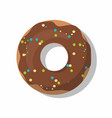 donut with chocolate isolated on white vector image