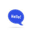 dotted speech bubble with hello word vector image vector image