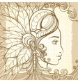 entangle woman face on notebook background vector image vector image