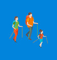 families spending free time 3d isometric view vector image