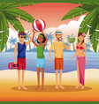 friends in the beach cartoons vector image vector image
