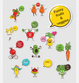 funny fruit and vegetable face icon vector image