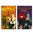 halloween party poster horror cemetery monsters vector image vector image
