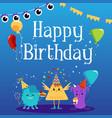 happy birthday greeting card with cute cartoon vector image vector image