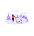 happy couple characters on winter activities vector image