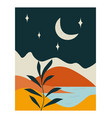 lanscape with sea and mountains at night vector image